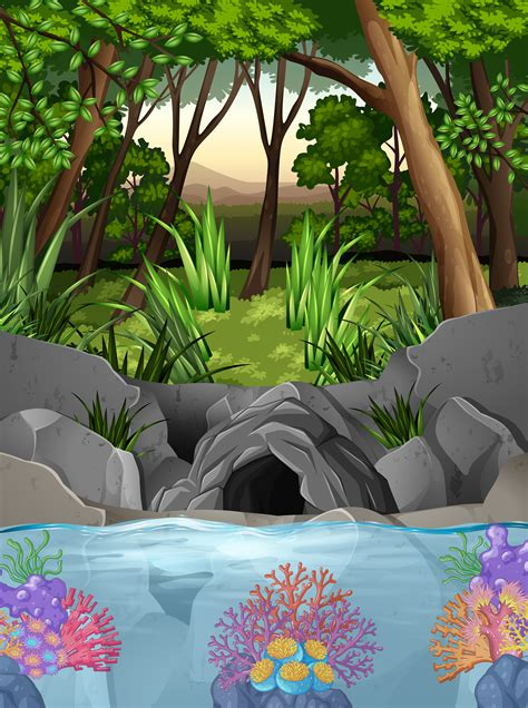 Forest scene with cave and trees - Download Free Vectors